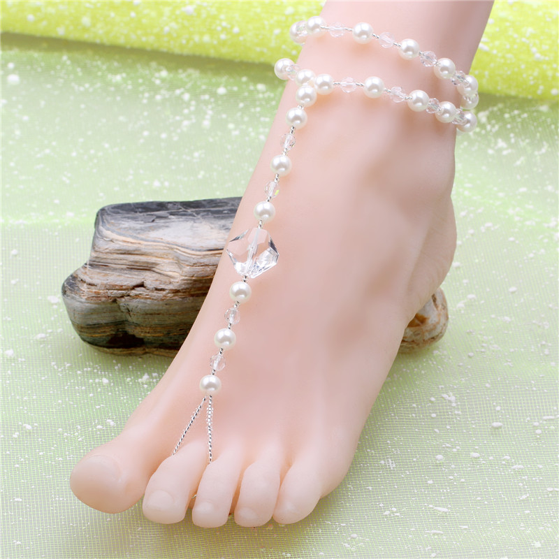 Bohemia anklets Glass Beads & Glass Pearl foot jewelry Best Gift Anklet barefoot sandals swimwear foot chain Wholesale Price(China (Mainland))