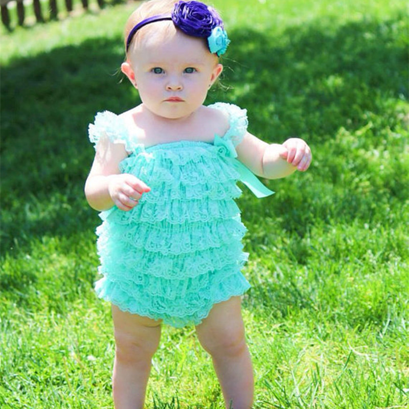 Posh Baby Lace Romper Aqua Lace Ruffle Romper for Infant and Toddler Girls ( 31 colors )(China (Mainland))