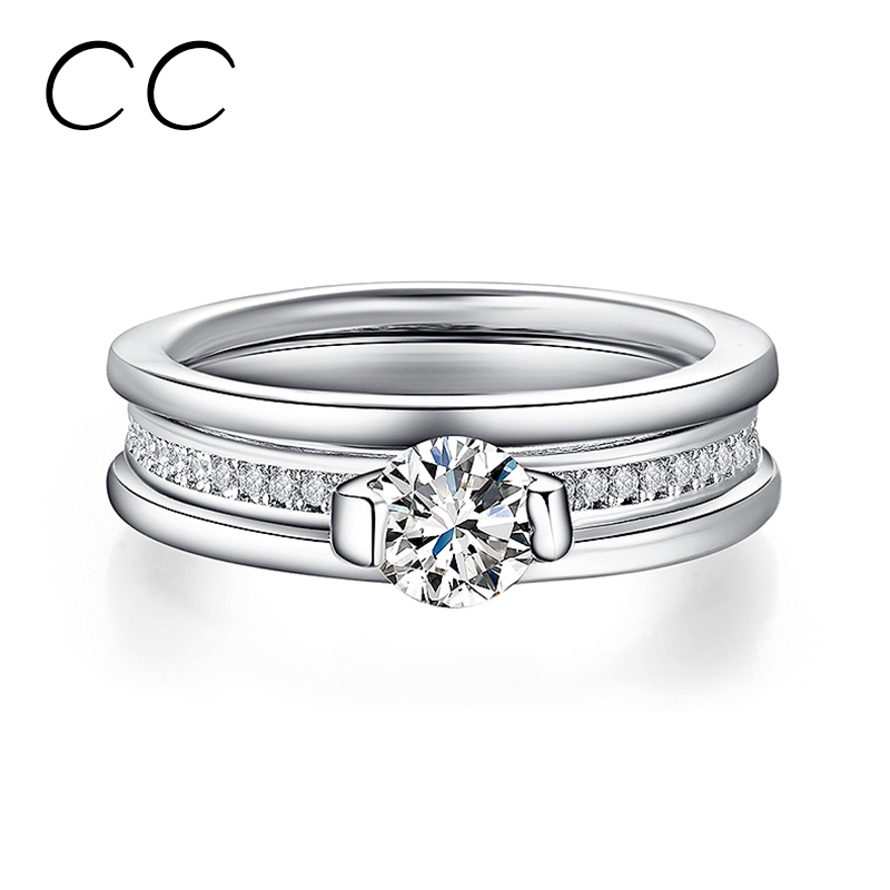 Fashion Platinum Plated Wedding Ring For Women Cubic Zirconia Diamond Jewelry Engagement Ring Bijoux Bagues Femme Gifts CC151(China (Mainland))