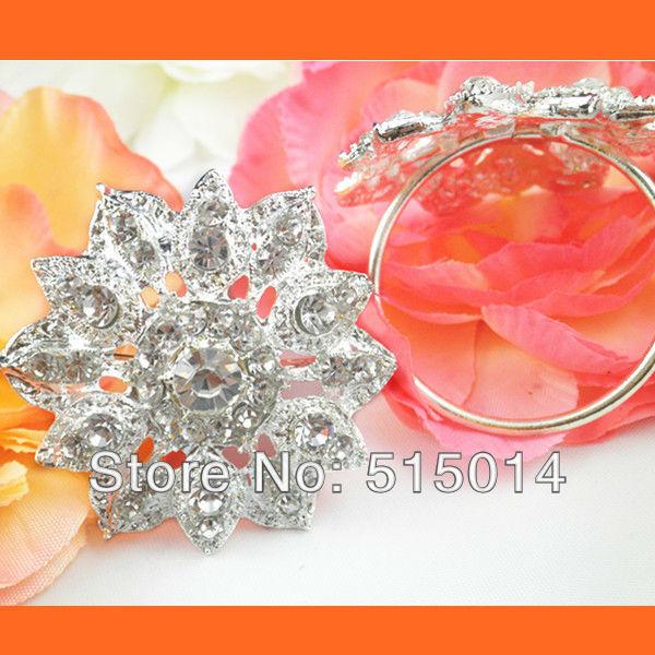 Free Shipping !200pcs/lot 40mm Ring Flower Rhinestone Napkin Rings ,Wedding Table Decoration ,Rhinestone Holders(China (Mainland))