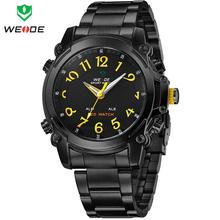 Nueva moda WEIDE relojes militar marca de lujo para hombre reloj de acero completo Sports cuarzo reloj de pulsera ocasional de múltiples funciones llevó la exhibición