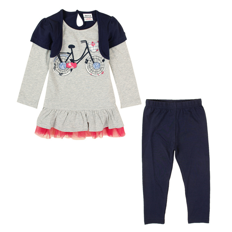 Retail children winter set NOVA baby kids girls wear clothing set winter dress and pants causal girls clothing set HG4820(China (Mainland))