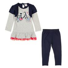 Retail children winter set NOVA baby kids girls wear clothing set winter dress and pants causal