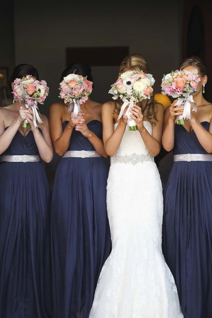 Stunning navy blue bridesmaid dresses with sash beaded for Blue sash for wedding dress