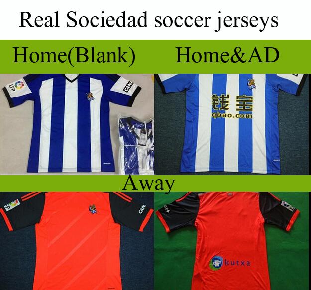 Top Thai La Liga soccer Real Socied boo jerseys men Home away Blue Orange S-XL Football team shirt training suit pants uniform(China (Mainland))