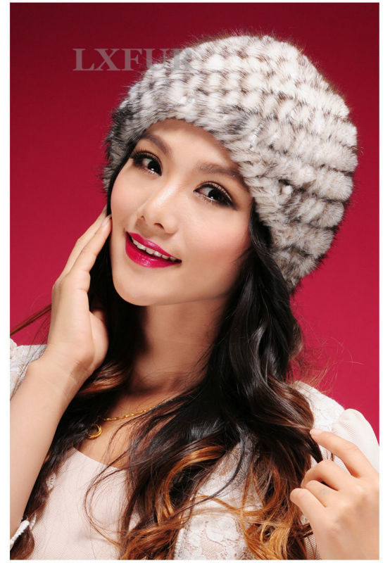 Cute Genuine Knitted Mink Fur Beanies Hats Fashion Womens Mink Fur Knitted Caps Winter Headgear LX00219(China (Mainland))