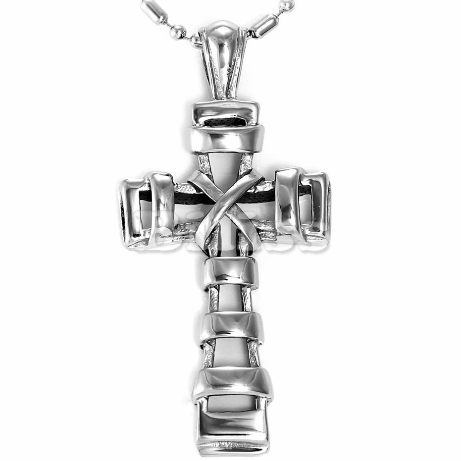 2015 Retro Style Mens Ladies Polished Stainless Steel Cross Pendant Necklace steampunk 22 Inch, Silver Tone(China (Mainland))