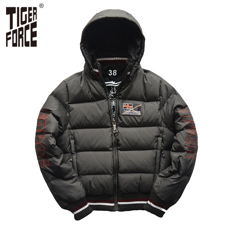 TIGER FORCE 2016 Band Boy Down Jacket Children White Duck Down Hooded Fashion Down Coat Dark Grey European Size Free Shipping(China (Mainland))
