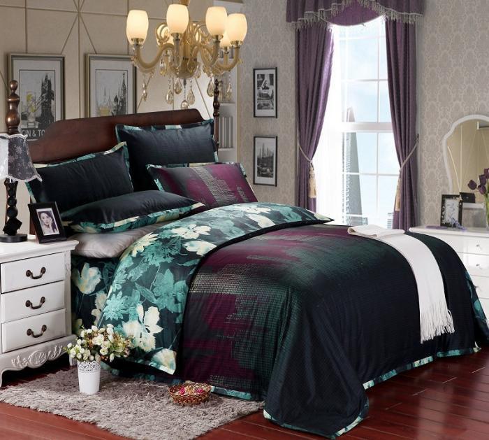 Floral azul juego de cama de lujo queen king size algod n for Sabanas para cama queen size