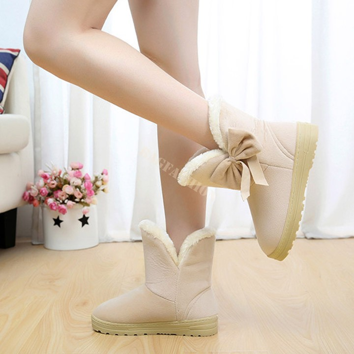 Hot Sale Women Winter Boots Warm Plush Snow Boots Half Short Boots Shoes Platforms Mid-Calf Bow Thicken Boots 4 Colors B20