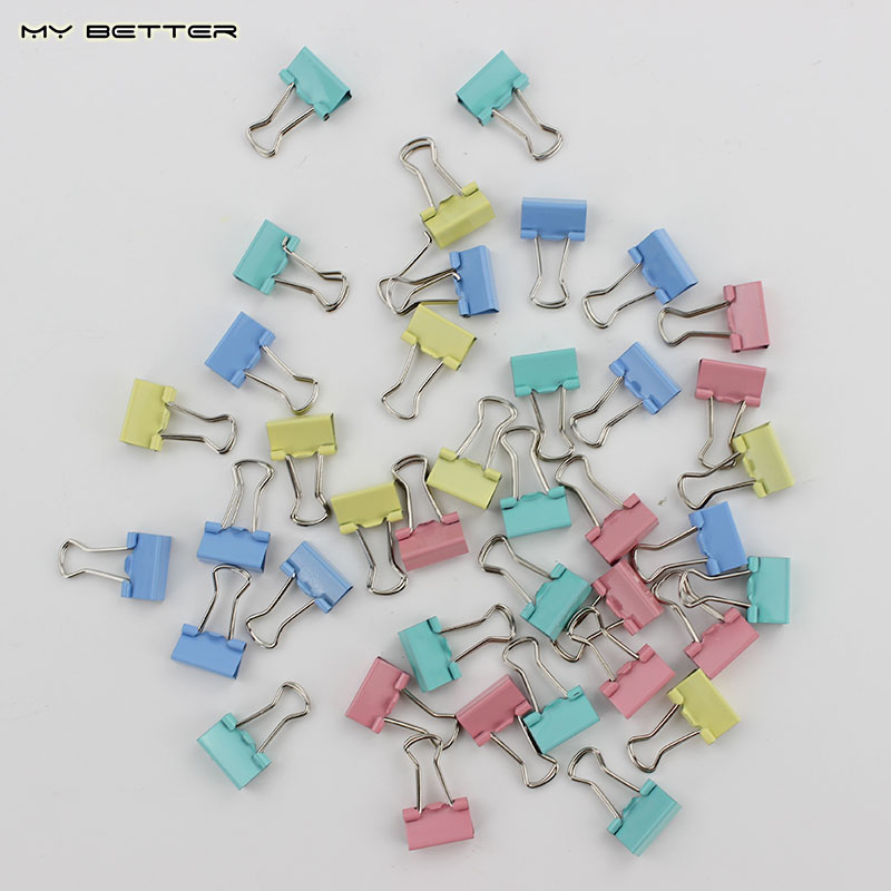 60pcs/lot 15mm Colorful Metal Binder Clips Paper Clip Office Stationery Binding Supplies(China (Mainland))