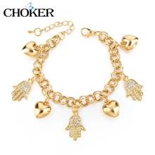 CHOKER Romantic 18K Gold Bracelets With Stones Crystal Hand Heart Bracelets For women Girls Fine Jewelry Diy Accessories(China (Mainland))