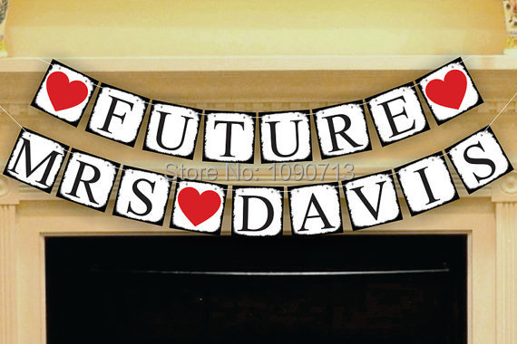 Free Shipping 1 X Black Side Customized Name FUTURE MRS Chic Wedding Party Photo Prop Sign Hanging Bunting Garlands(China (Mainland))