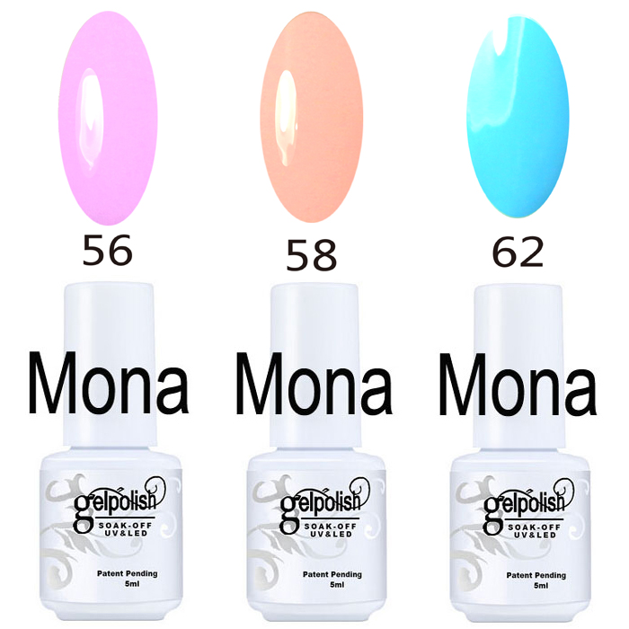 3Pcs/Set , 5ml Volume Mona Brand Color Gels Series, UV LED Curing Gel Nail Polish Gorgeous Colors Long-lastting Up To 30 Days!(China (Mainland))