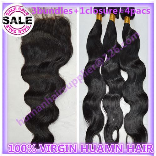 brazillian body wave hair 3 bundle with closure brazilian remy body wave hair with closure rosa hair weave with closure 6a hair(China (Mainland))