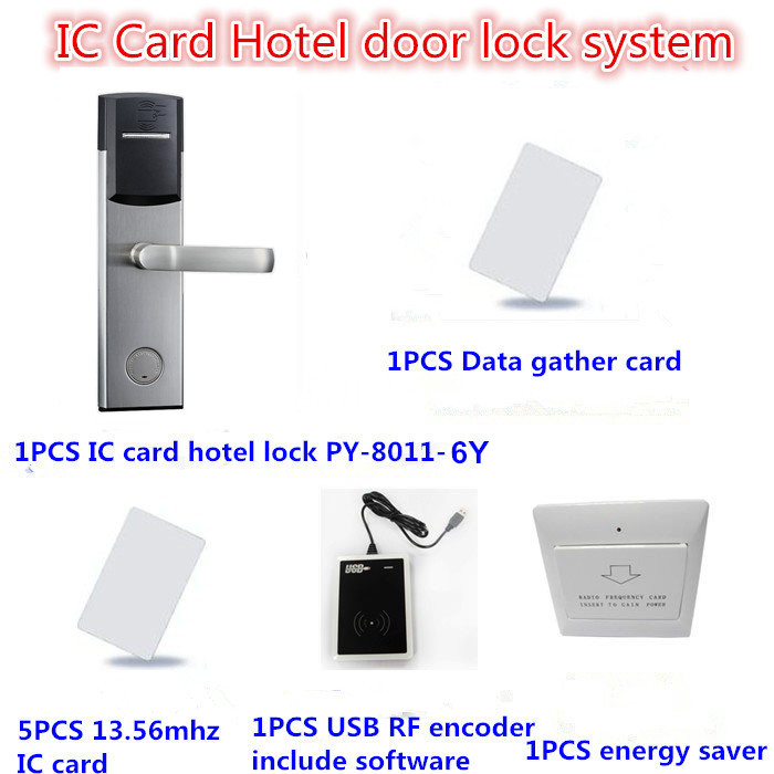 RFID Smart IC Card Hotel guest room door locks(lock+card encoder+software+RF card+energy saver)(China (Mainland))
