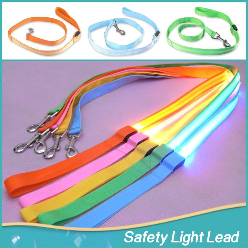 2016 Fashion Productos Para Mascotas Colorful LED Light Dog Leash Night Safety Walking Training Pet Lead Leashes For Dogs 120cm(China (Mainland))