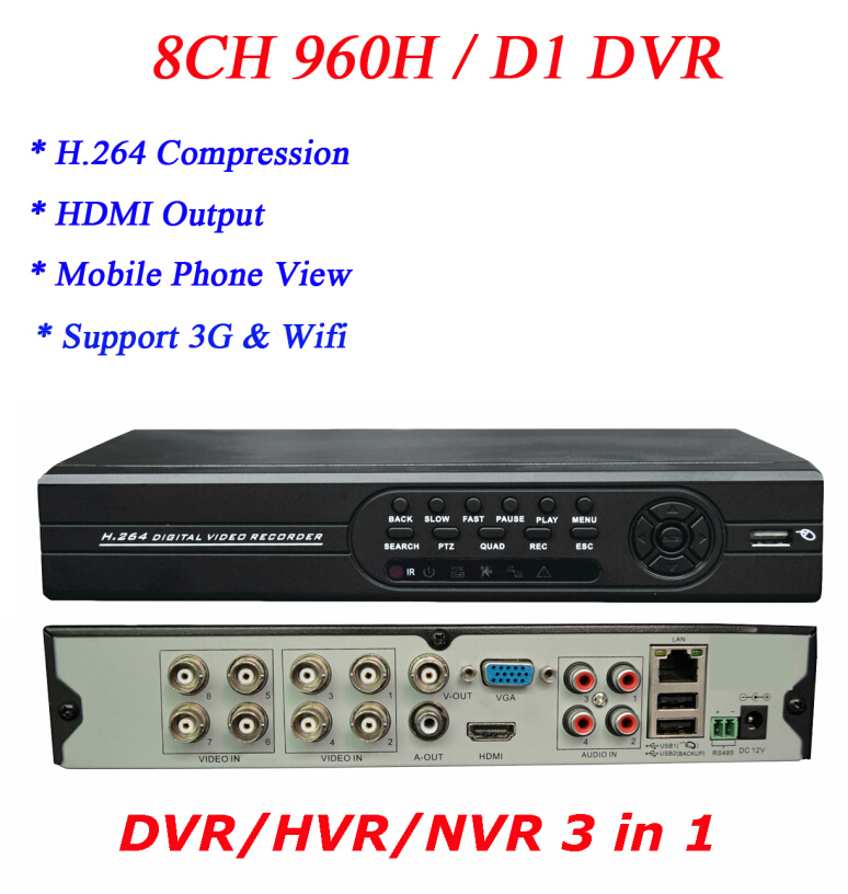 Wholesale Network HDMI Output VGA RCA Alarm Output Free DDNS 8ch DVR 3g p2p Cloud Function Support(China (Mainland))