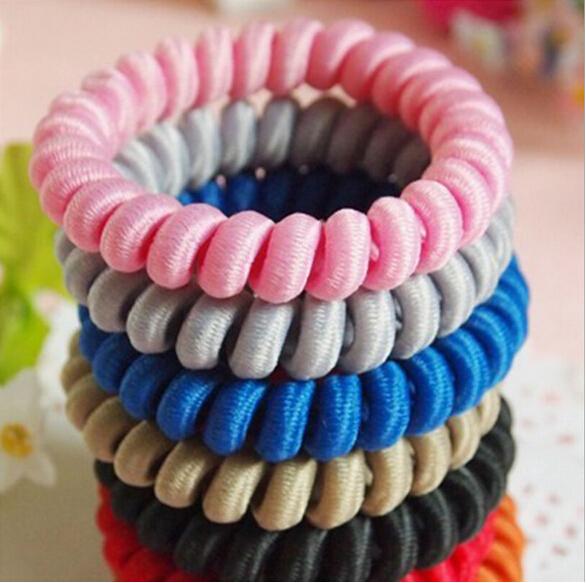 5PCS/Lot Telephone Bracelet Hair Ties Candy Colors Elastic Hair Band For Women Elastico De Cabelo Scrunchy Hair Accessories(China (Mainland))
