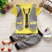 2015 Fashion Baby Boy summer Clothing Set kids Clothes set Gentleman Suit Boys short Sleeve T-shirt + Pants childrenClothing Set