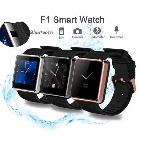 SmartWatch F1 Bluetooth Smart Watch Cell Phone Waterproof Wristwatch Pedometer SIM 1.3MP Camera Anti Lost Sleep Monitor New 2015(China (Mainland))