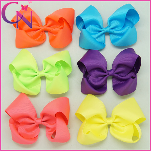 """5"""" Baby Boutique Hair Bow Fashion Neon Color Grosgrain Hair Bow Handmade Hair Bow For Kid 30pcs/lot Free Shipping CNHBW-1406031(China (Mainland))"""