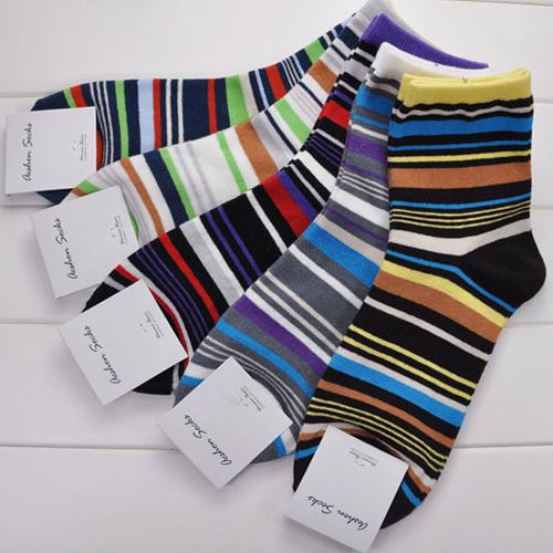 2016 Men's Sports Socks Cotton Sock Masculinas Brand Male Elite Sox Beautiful Multicolour Stripes In Tube Casual Socks 8M02471(China (Mainland))