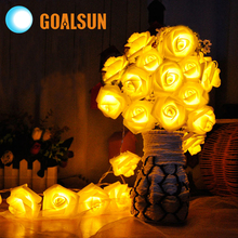 8 Color Night Light 20 x LED Novelty Rose Flower Fairy String Lights Wedding Garden Party Christmas Decoration Nightlight(China (Mainland))