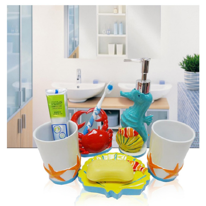 2015 kids bathroom sets high quality five pieces cartoon for Cute bathroom stuff