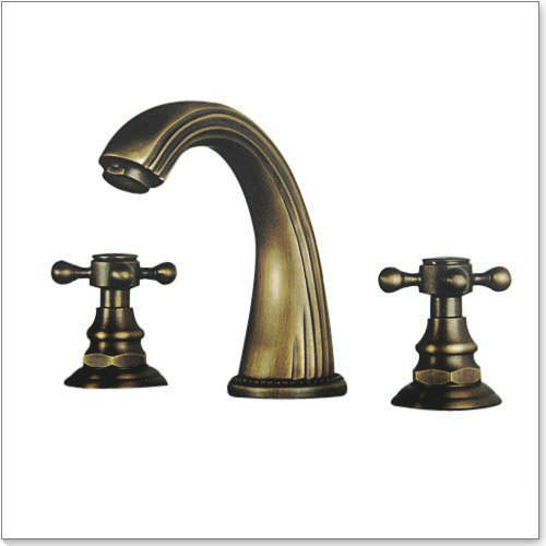 Widespread Vanity Faucet : Two Handle Widespread Bathroom Vanity Sink Lavatory Faucet, Antique ...