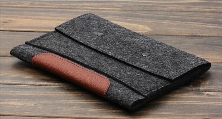 Wool Felt bags for iPad mini &amp; ipad 2/3/4 leather&amp;woolfelt sleeve for Ipad2/3 tablet handmake color gray<br><br>Aliexpress