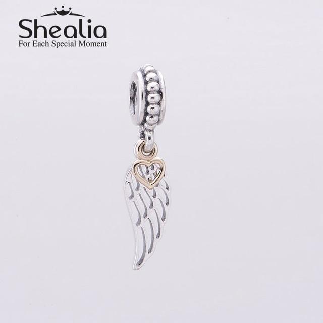 2014 новый крыло ангела мотаться подвески with14k в форме сердца стерлингового серебра 925 пробы пера кулон подходит известный бренд diy шарм браслеты