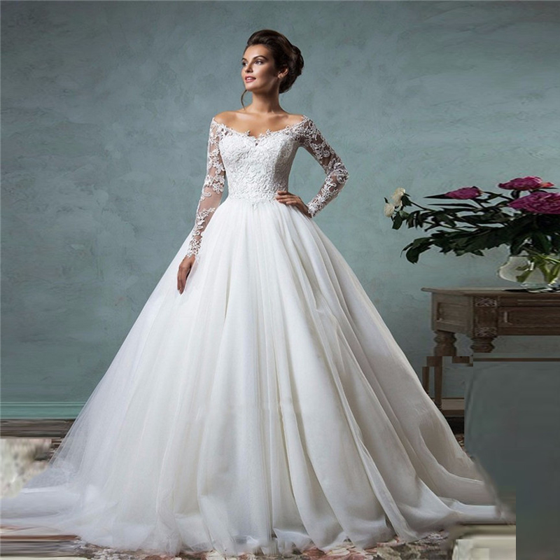 Lace off the shoulder ball gown wedding dresses long for Long sleeve princess wedding dresses