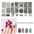 New black lace 1 stainless steel plate manicure nails nail art stamps stamping tools