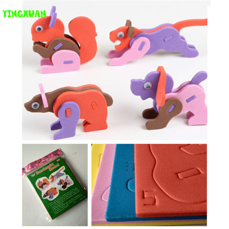 6 packs(26 animals) Eva Foam Craft DIY 3D Animal Puzzle Learning Educational Toys Kids 3-6 years Old 2016 New High Quality(China (Mainland))