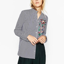 Buy Vintage ZA Floral Bird Phoenix Embroidery Striped Slim Shirt Single-breasted Long Sleeve Blouse Office Wear Tops blusas femme for $13.65 in AliExpress store