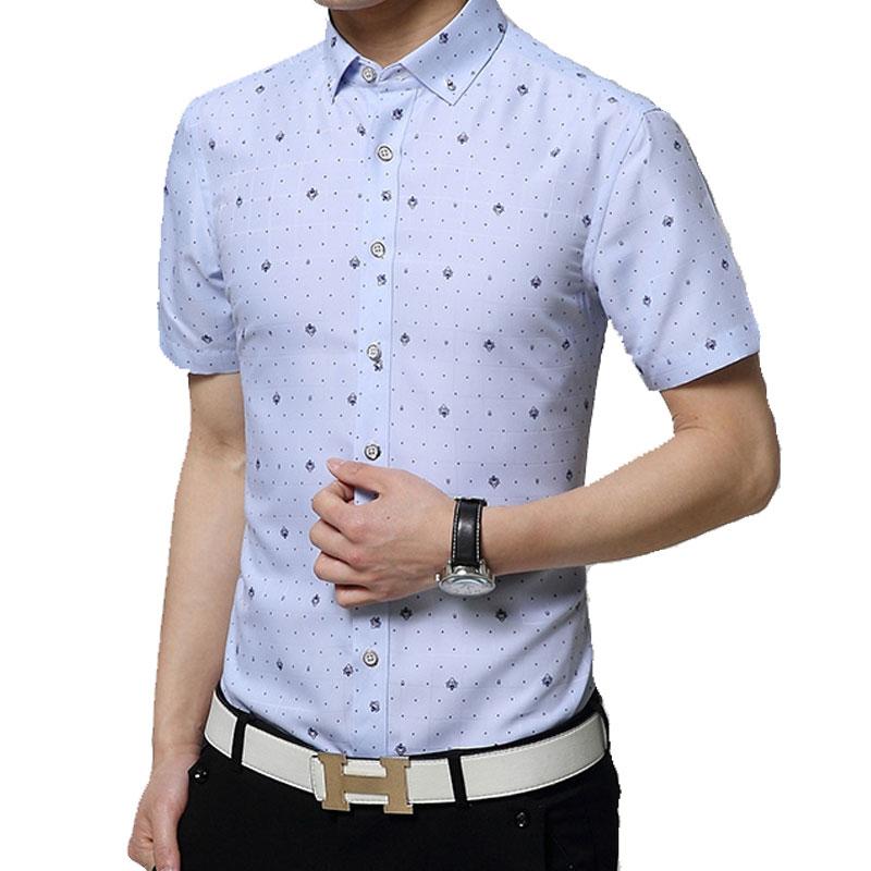 2016 Brand Print Men Shirt Short sleeve Shirt Slim Fit Casual Shirts Fashion Men's Clothing Casual Camisa Masculina Plus Size(China (Mainland))
