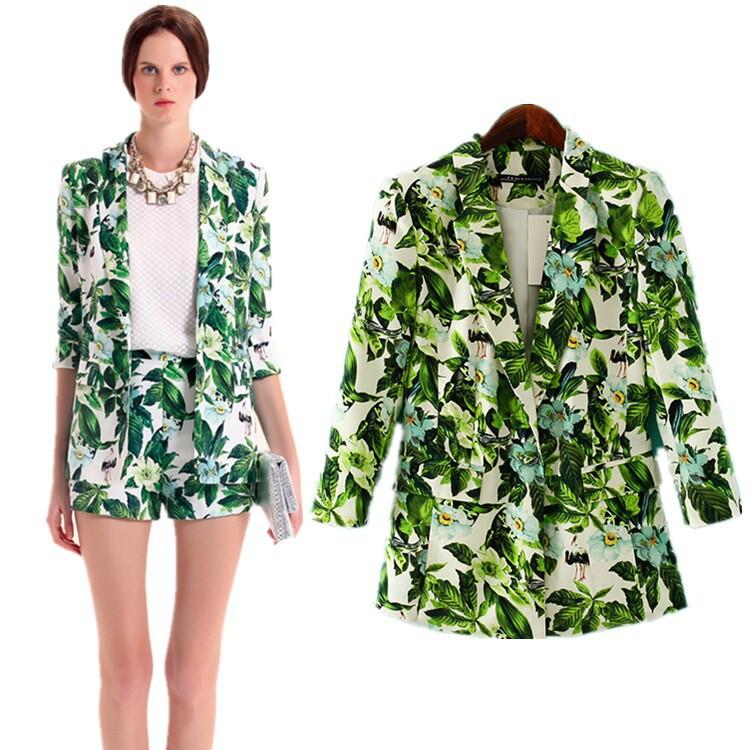 Blazer Women Green Flower Female Blazer Women Jacket Full Sleeve Pockets Woman Slim Short Suit Jacket Blazer Feminino(China (Mainland))