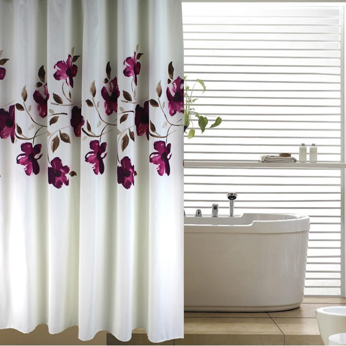Moda para el hogar glam elegante flores floral poli ster for Ganchos para cortinas de bano