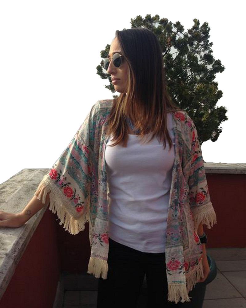 fashion women Spain style chiffon kimono cardigan tassel Regular Floral print blouse mujer ropa camisas femininas blusas