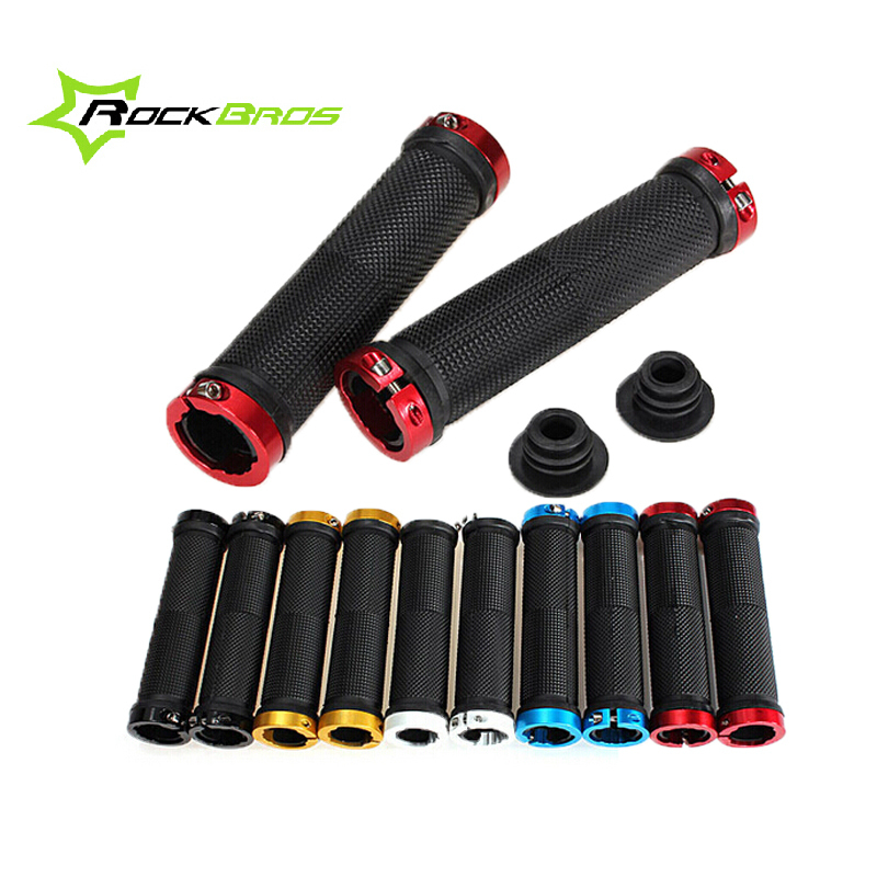 ROCKBROS 1 Pair MTB Mountain Bike Grips Rubber Lock On Handlebars Lock-on Grips Fixed Gear Fixie Grips End knock off , 10 colors(China (Mainland))