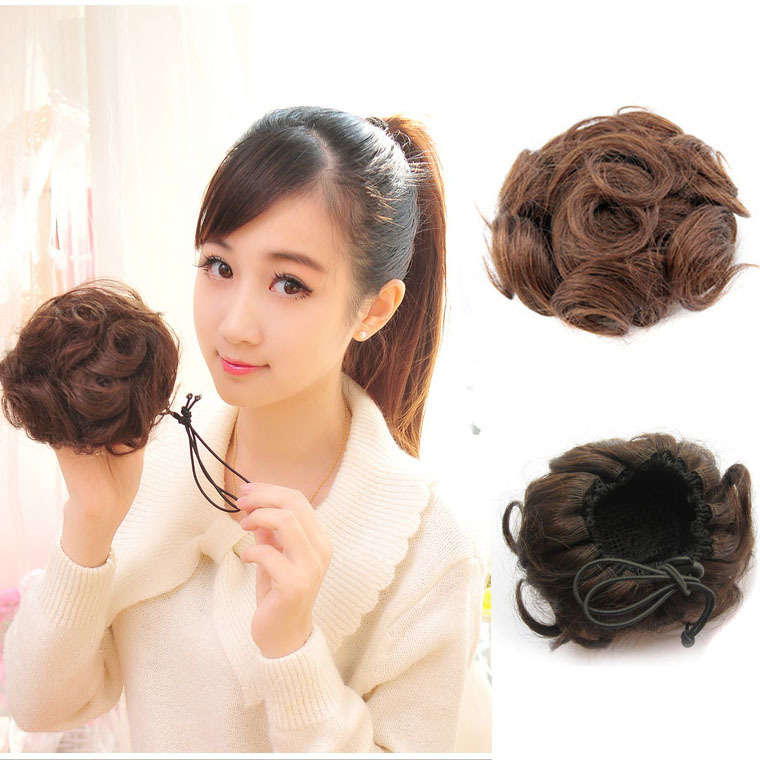Fashion Women Ladys 30g Virgin Curly hand-woven 100% Real Hair Buns Clip in Hair Hairpiece Wigs Free Shipping 4colors(China (Mainland))