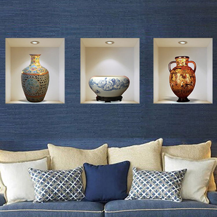 ceramic 3D vase decal wall sticker vase vinyl wall stickers home decor living room sitting room promotion 3d wall sticker Z-002(China (Mainland))