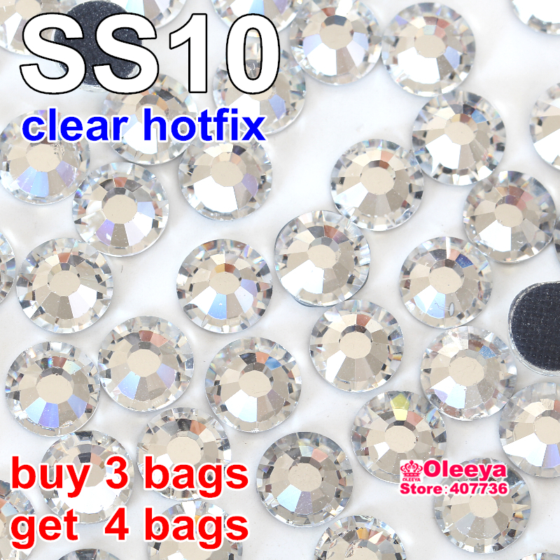 Buy 3 Bags Get 4 Bags ,DMC Hotfix Rhinestone,ss10 Color Better White Clear Crystal Hot Fix stones With Glue,Free Shipping Y2873(China (Mainland))