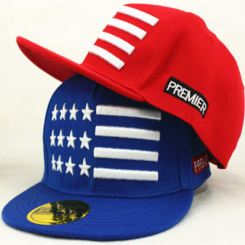 New Childrens Summer Flat Along the Hat Stripe Five Pointed Star Embroidered Snapback Baseball Cap Hip Hop Outdoor Sun Hats(China (Mainland))