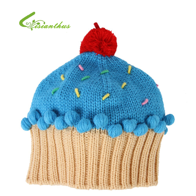 Children Knitted Caps Kids Autumn Winter Hats Boys Girls Candy Color Skullies Cake Shape Beanies Birthday Gifts Drop Shipping(China (Mainland))