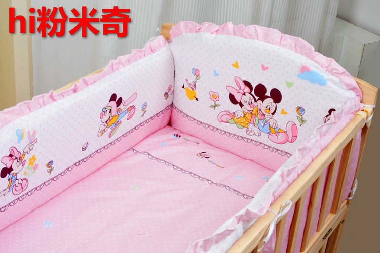 Фотография Promotion! 10PCS Mickey Mouse Baby bedding baby bedding bed around baby bed around quilt pillow (bumper+matress+pillow+duvet)