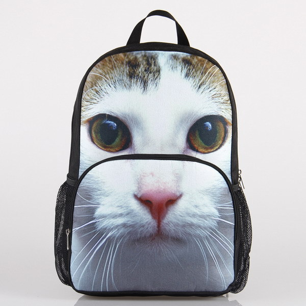 VEEVAN Cat Design High School Backpack Personalized 3D Animal Print Polyester Fashion Casual Backpacks Loptap School Bag(China (Mainland))