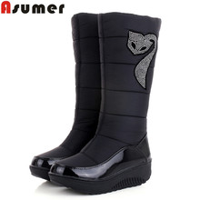 2016 new winter Russia keep warm snow boots Cotton shoes fashion platform down winter boots mid calf half knee high boots(China (Mainland))