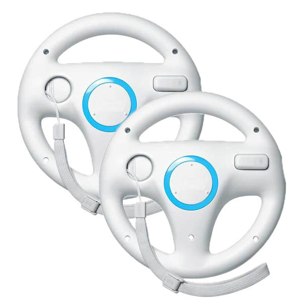 2 x pcs White Steering Mario Kart Racing Wheel for Nintendo Wii Remote Game(China (Mainland))